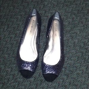 Bandolino grey silver glitter peep toe flats Sz 11